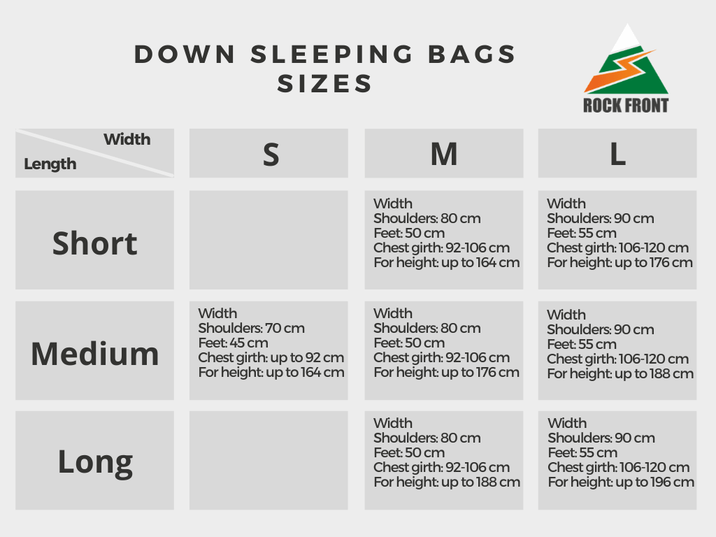 Sizes of ROCK FRONT down sleeping bags